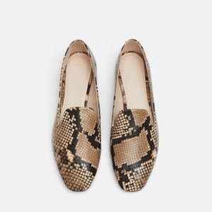 Zara snake print embossed leather loafers
